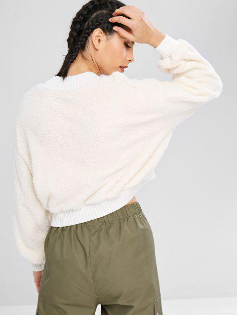 ZAFUL Fluffy Mock Neck Crop Teddy-Sweatshirt - Weiß M Mobile