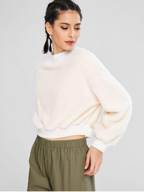 hot ZAFUL Fluffy Mock Neck Crop Teddy Sweatshirt - WHITE L Mobile