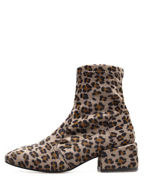 Chunky Heel Suede Sock Short Boots - Leopardo UE 35 Mobile