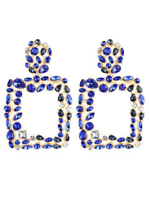 fancy Bohemian Style Water Drop Hollow Design Earrings - BLUE  Mobile
