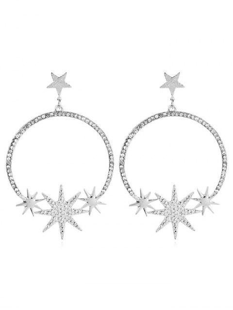 outfits Alloy Star Rhinestoned Round Earrings - SILVER  Mobile