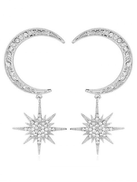 shop Rhinestoned Star and Moon Pattern Drop Earrings - SILVER  Mobile
