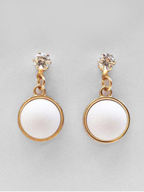 ladies Zircon Round Design Grind Earrings - WHITE  Mobile