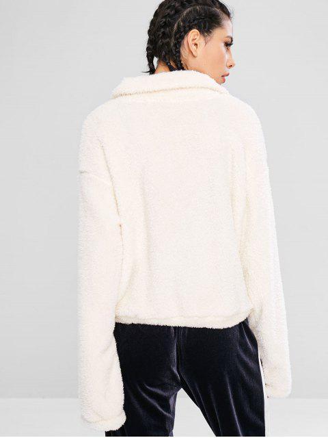 ZAFUL Fluffy Drop Shoulder Zipper Teddy Jacket - Warmweiß M Mobile