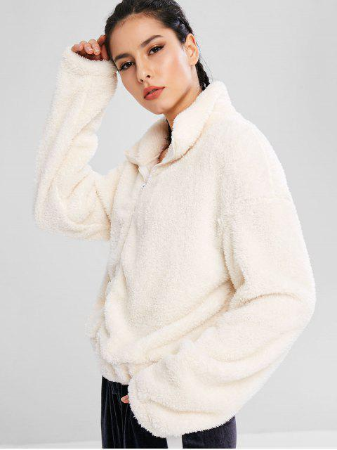 ZAFUL Fluffy Drop Shoulder Zipper Teddy Jacket - Warmweiß S Mobile