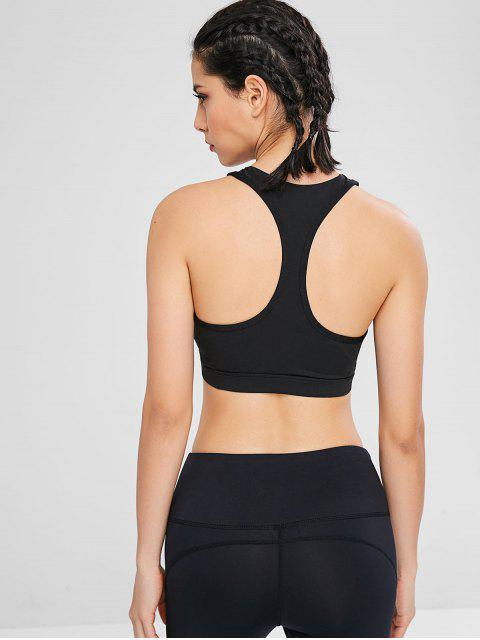 unique Keyhole Ruched Racerback Sport Bra - BLACK XL Mobile
