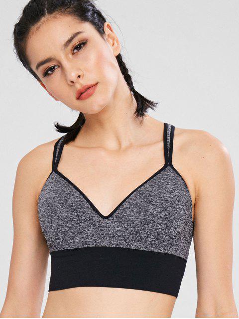 fashion Heather Color Block Gym Bra - DARK GRAY XL Mobile