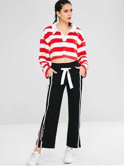 Sportlich gestreiftes Sweatshirt mit Drop-Schulter - Rot M Mobile