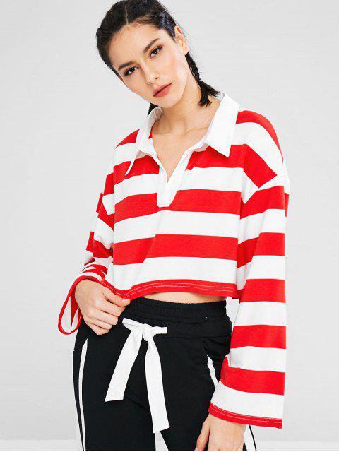Sportlich gestreiftes Sweatshirt mit Drop-Schulter - Rot L Mobile