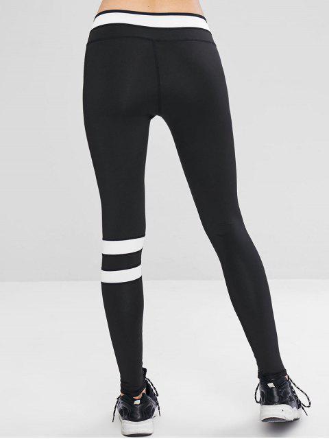Leggings de entrenamiento deportivo en contraste - Negro M Mobile