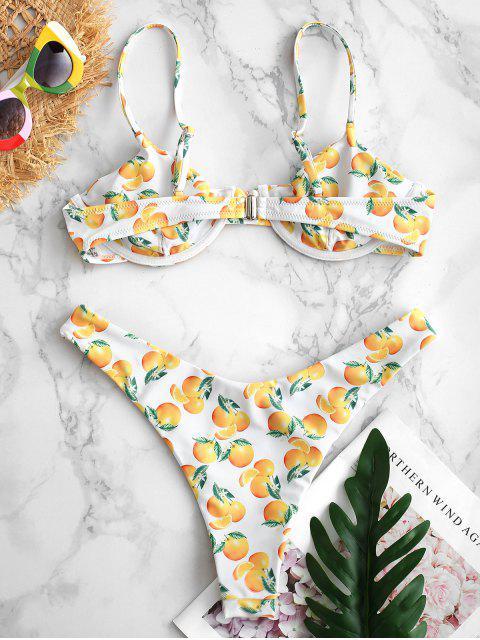 ZAFUL Ensemble de Bikini Orange Imprimée à Armature - Blanc L Mobile