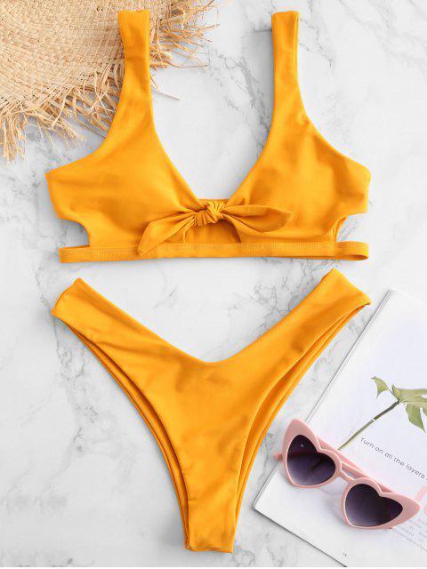 hot ZAFUL Keyhole Tied Bikini Set - BRIGHT YELLOW L Mobile