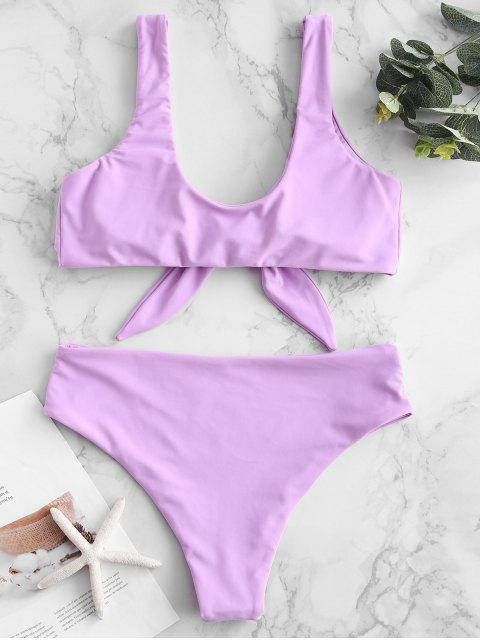unique ZAFUL Tie Front Padded Bikini Set - MAUVE M Mobile