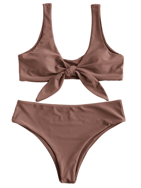 unique ZAFUL Tie Front Padded Bikini Set - ROSY BROWN L Mobile