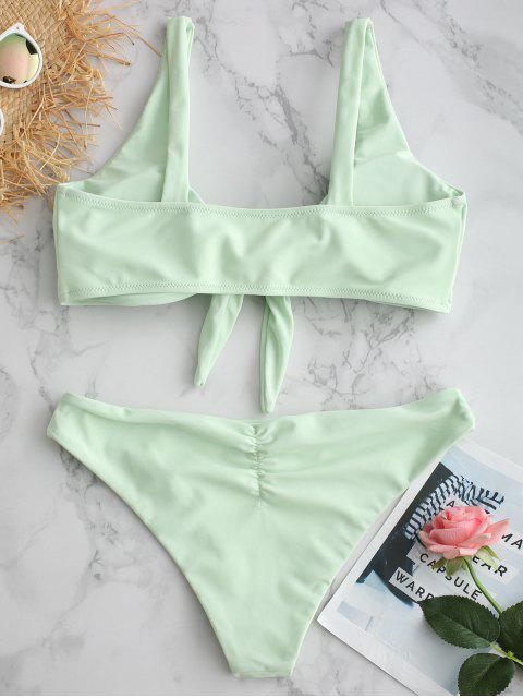 women ZAFUL Plunge Front Knot Bikini Set - LIGHT CYAN S Mobile