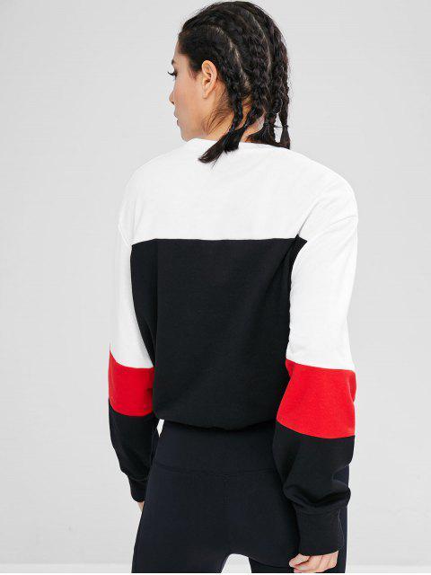unique Athletic Color Block Drawstring Sweatshirt - MULTI S Mobile