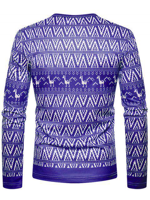 Christmas Alpaca Printed Crew Neck T-shirt - 紫色紫水晶 M Mobile