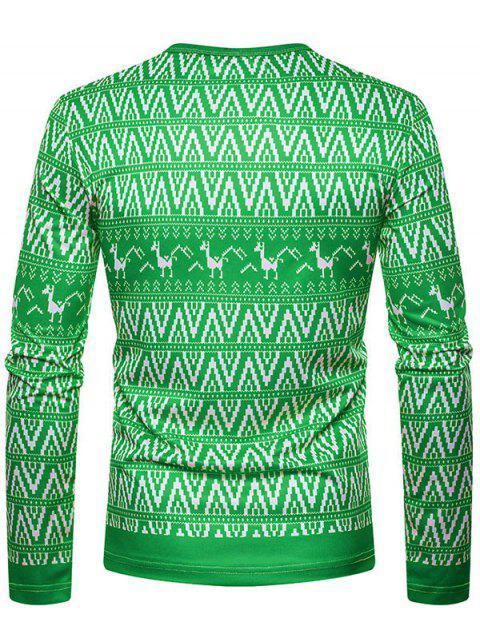 Christmas Alpaca Printed Crew Neck T-shirt - 三葉草綠色 XL Mobile
