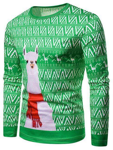 Camiseta de Navidad Estampado Alpaca Cuello Redondo - Verde de Trébol  M Mobile