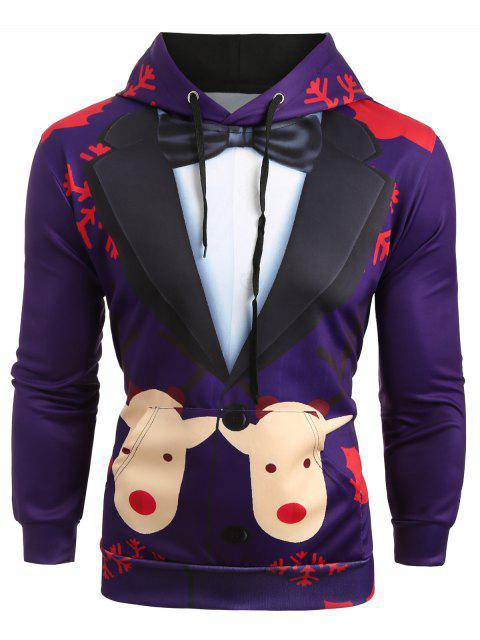Sudadera con Capucha y Estampado de Traje de Nieve de Navidad - Púrpura M Mobile