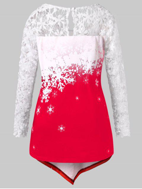 new Plus Size Santa Claus Print Lace Insert Tee - RED L Mobile