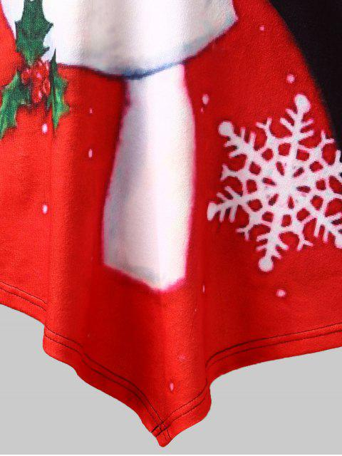 Plus Size Santa Claus Print Lace Insert Tee - 白色 L Mobile