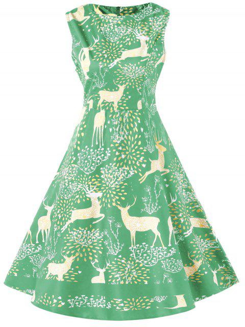 Christmas Elk Print High Waist Swing Dress - 藍晶 M Mobile