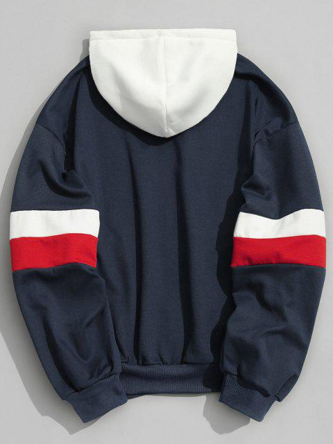 trendy Drawstring Splicing Color Block Hoodie - DEEP BLUE S Mobile