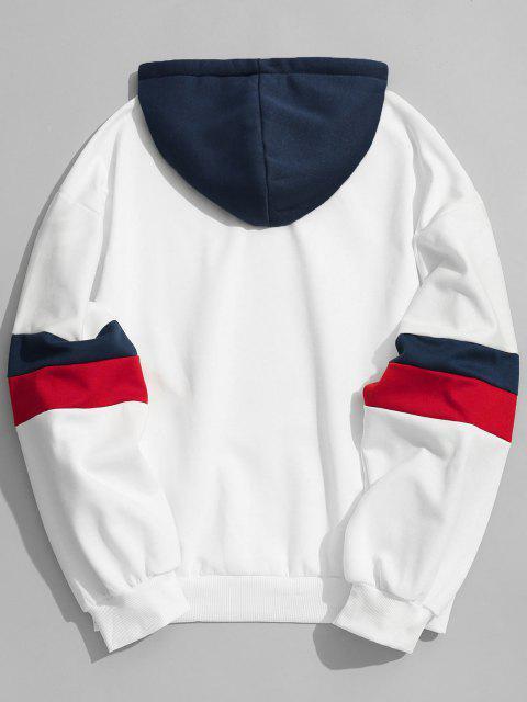 fashion Drawstring Splicing Color Block Hoodie - WHITE M Mobile