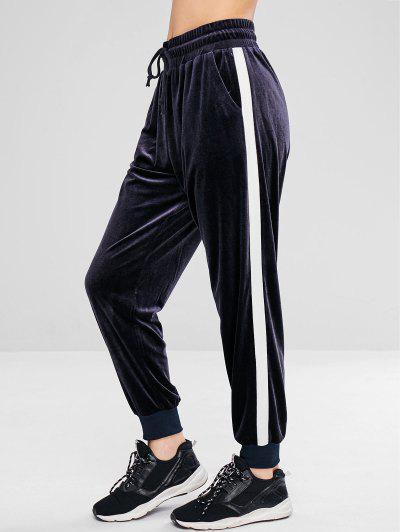 ZAFUL Color Block Velvet Jogger Pants - Blue Gray L