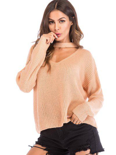 Cut Out Choker Neck Oversized Sweater - Apricot M