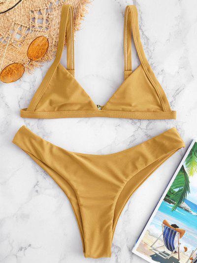 2b2e479689 ZAFUL Unlined High Cut Bikini Set - Golden Brown M