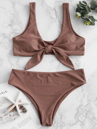 Bikini Acolchado Delantero Con Lazo ZAFUL - Brown Rosa  M