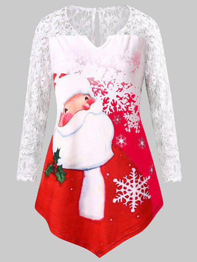 Plus Size Santa Claus Print Lace Insert Tee - Red L
