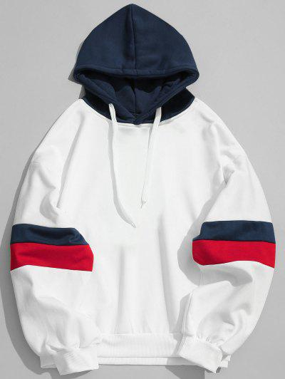 Drawstring Splicing Color Block Hoodie - White S