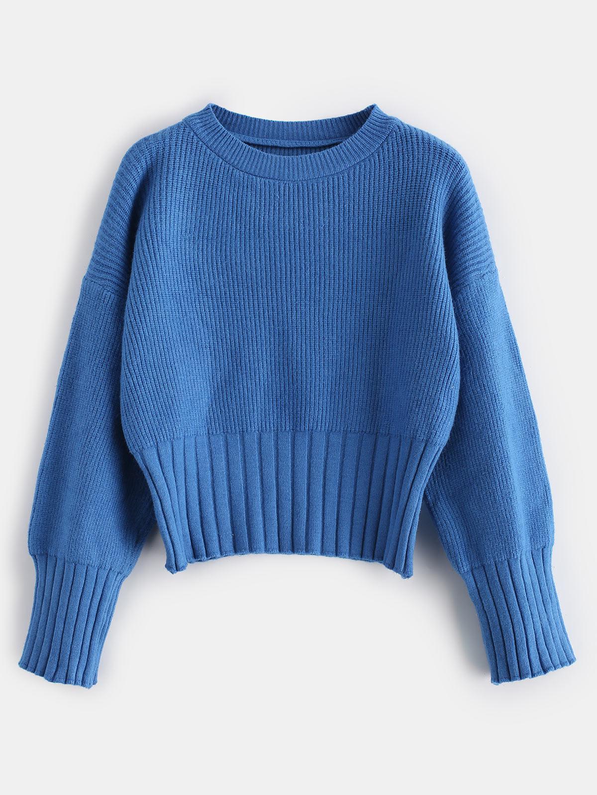 Ribbed Trim Drop Shoulder Sweater 353344301