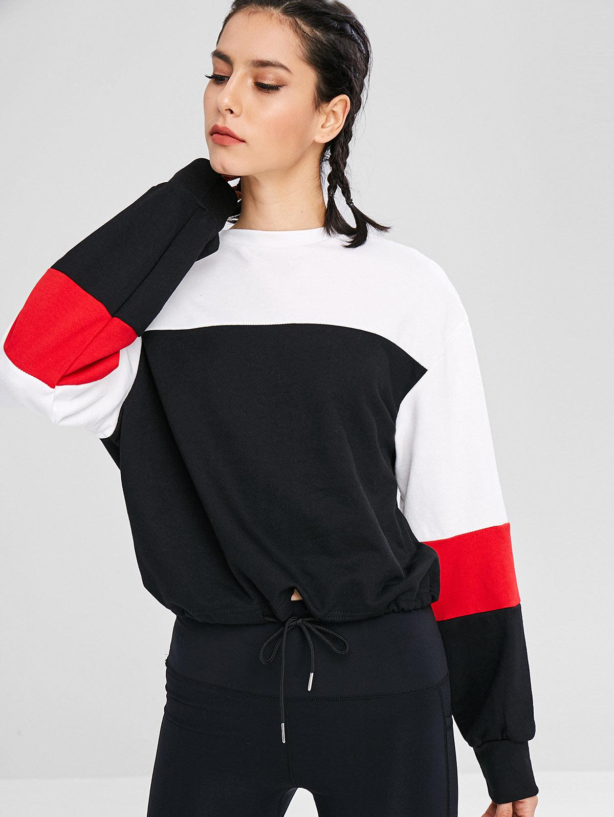 Athletic Color Block Drawstring Sweatshirt