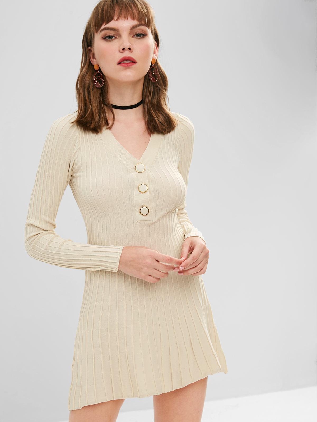 Long Sleeve Half Buttoned Sweater Dress