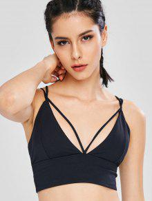 Strappy Criss Cross Sport Bra - أسود M
