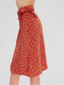 الأزهار طباعة ميدي تنورة صوفية - برتقالية زاهية M