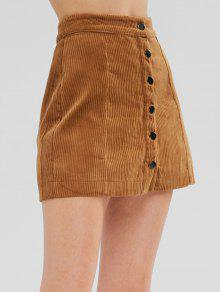 ad8e4f89fa7 41% OFF] 2019 Button Up Corduroy Mini A Line Skirt In LIGHT BROWN ...
