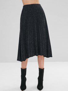 تنورة عالية الخصر مطوي ميدي - أسود S