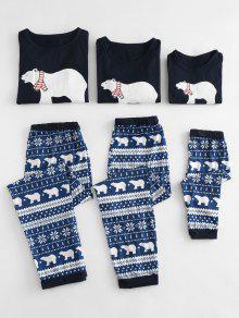 الدب القطبي مطبوعة عيد الميلاد البيجامة الأسرة مجموعات - أزرق Mom Xl