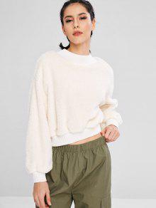 سويت شيرت بياقة دائرية من ZAFUL Fluffy Mock Neck Tropy Sweatshirt - أبيض L