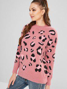 d4ed2a81e025 Leopard Pattern Fuzzy Sweater; Leopard Pattern Fuzzy Sweater ...