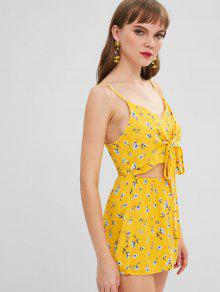 16312b48b02 29% OFF  2019 Floral Print Tie Front Cutout Cami Romper In YELLOW ...