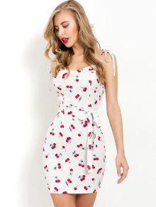 a62a477f270a 25% OFF] [HOT] 2019 Cherry Print Belted Cami Dress In WHITE | ZAFUL