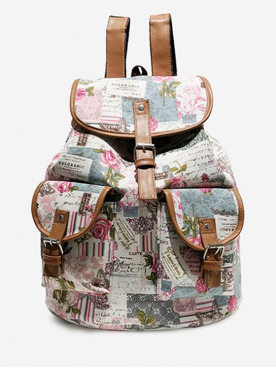 trendy Flower and Letter Pattern Canvas Backpack - BEAN RED