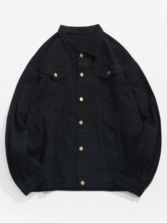 new Sleeve Hole Pins Letter Denim Jacket - BLACK 2XL