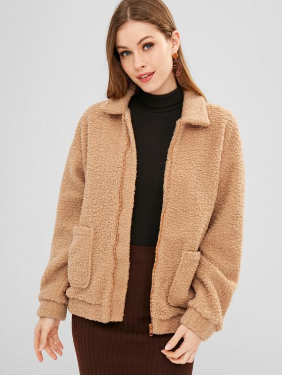 women's ZAFUL Zip Up Pockets Teddy Coat - CARAMEL S